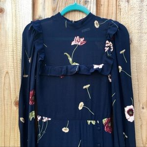 Reformation Long Sleeve Navy Floral Dress